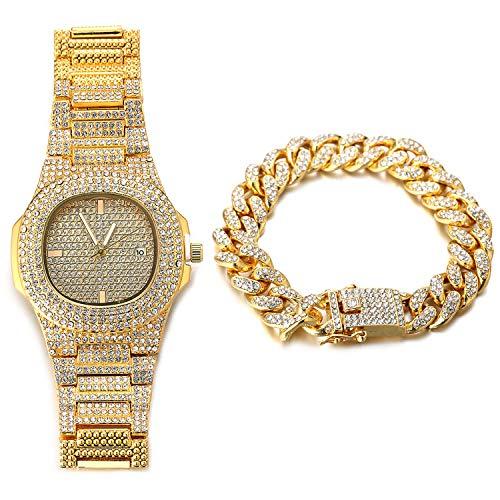 Halukakah Reloj de Oro Hombres Iced out,Chapado en Oro Real de 18k Pulsera de Cuarzo 9.5'(24cm),con Pulsera Cubana 8'(20cm),Cz Completo Diamante de Laboratorios,Gratis Caja de Regalo