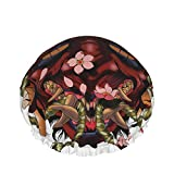 Doublelayer Waterproof Shower Cap,Traditional Female Japanese Demon Tattoo Design In Full Color,for Women Reusable washable Long Hair caps