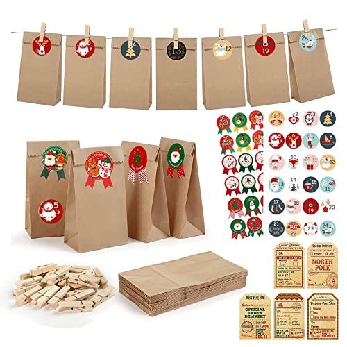 Anguer Calendario de Adviento 2021, Calendario de Adviento para Rellenar, Bolsa de Regalo Navidad, con 5 Santa Polo Norte Pegatinas de Etiquetas de Regalo, para Navidad Decoración, Envolver Regalos