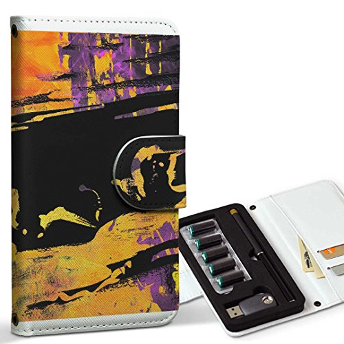 スマコレ ploom TECH プルームテック 専用 レザーケース 手帳型 タバコ ケース カバー 合皮 ケース カバー 収納 プルームケース デザイン 革 ユニーク 模様 ペンキ 黒 ブラック 008769