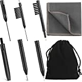 7 Pieces Hearing Aid Cleaning Tools Hearing Aid Amplifier Cleaning Brush with Wax Loop and Magnet, Hear Aid Cleaning Kit with Velvet Bag