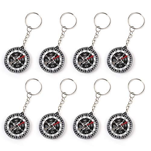 WELLGRO 8er Set Kompass Schlüsselanhänger - Mitgebsel für Kindergeburtstag, je ca. 3,5 x 1,0 cm (ØxH), schwarz