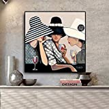 American Woman Portrait Painting Canvas Posters Prints Scandinavian Mural Frameless painting40x40cm