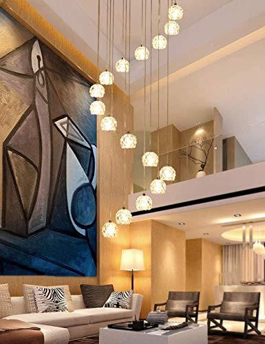 Illuminazione 16 pezzi Sfere di vetro Lampadario lungo Spirale Luci multiple Lampade a sospensione per scale Soggiorno Ristorante Lampadario Paralume in vetro, grandi dimensioni, 50X200 cm