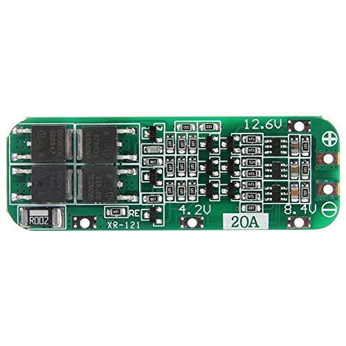 Fafeicy BMS 3S Tablero de protección de batería de litio, 12.6V 20A, 18650 LiPo Cell PCBAuto Recovery