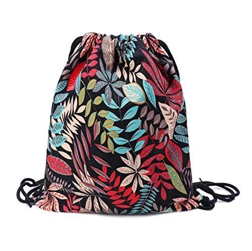 Mochila con cordón Floral Mochilas Gimnasio Saco Paquete Mochilas para Yoga Gimnasio Bolsa de Viaje para la Playa