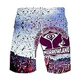 Jkjjerfhf Tomorrowland Short Pantalons de Plage pour Hommes Confortables Nouveaux Shorts de Coton d'été Unisexe (Color : A01, Size : L)