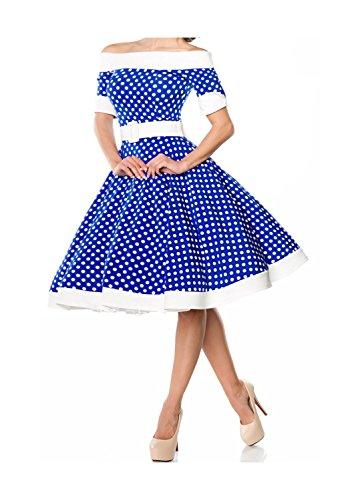 Belsira Swing-jurk voor dames, in retrostijl swing Small blauw/wit