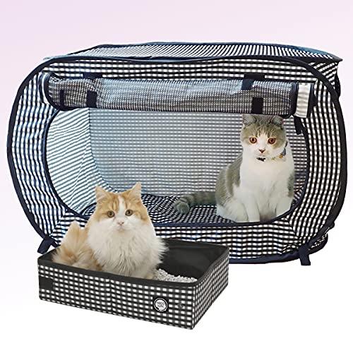 Necoichi Portable Stress Free Series (Black, Kennel/Cage and Litter Box Set)