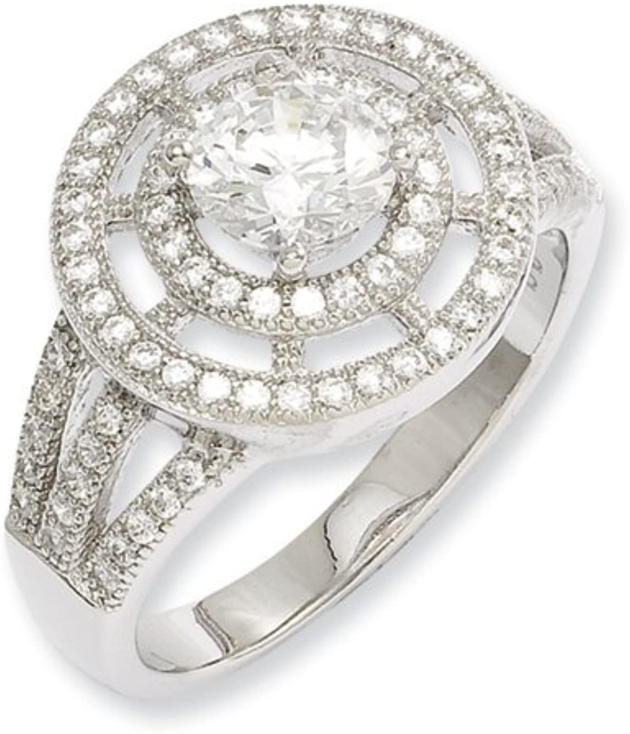 Brilliant Embers Sterling Silver & CZ Brilliant Embers Round Polished Fancy Ring