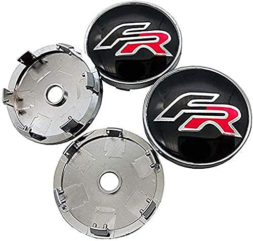 Tapacubos de 4 ruedas, embellecedor de rueda impermeable y a prueba de polvo, forma de etiqueta de tapa de rueda de aleación de aluminio con accesorio de logotipo de coche, para Leon FR + Cupra Ibiza