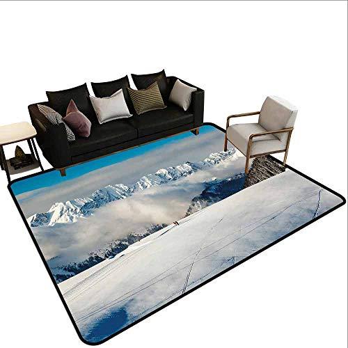 MsShe Transparant gedrukte deurmat Winter, blokhutten in de bergen Zonnige Winterdag Landelijke Scene Vakantie Vakantie