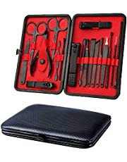 Manicure Set Nail Clippers Pedicure Kit - 18 Piece Stainless Steel Manicure Kit, Professional Grooming Kit, Nail Care Tools with Luxurious Travel Case
