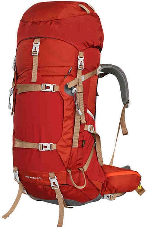 JIAN Wandern Rucksack Leichte Reise Packable Durable Wasserdichte Sport Daypack Für Camping Angeln Reise Radfahren Skifahren 75L,rot-56-75L