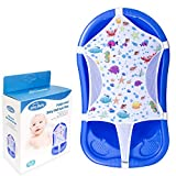"""Baby Bath Seat Support Net, Patterned Bath Net with Six Safety Support Corner, Bathtub Shower Mesh, Premium Quality Bath Sling for Newborns, Size: 35"""" x 21"""" (Bathtub is not Included)"""