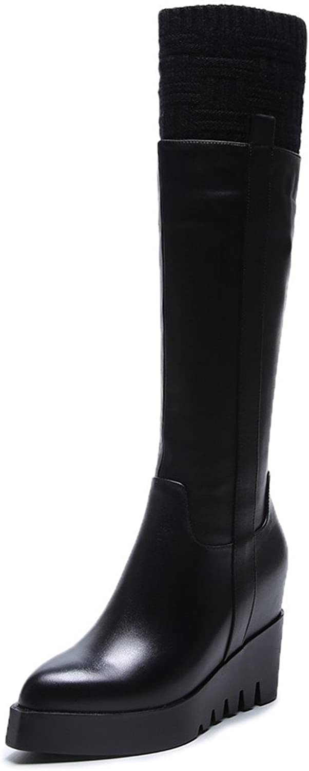 Nine Seven Genuine Leather Women's Pointed Toe High Heel Platform Handmade Trendy Classy Knee High Boots