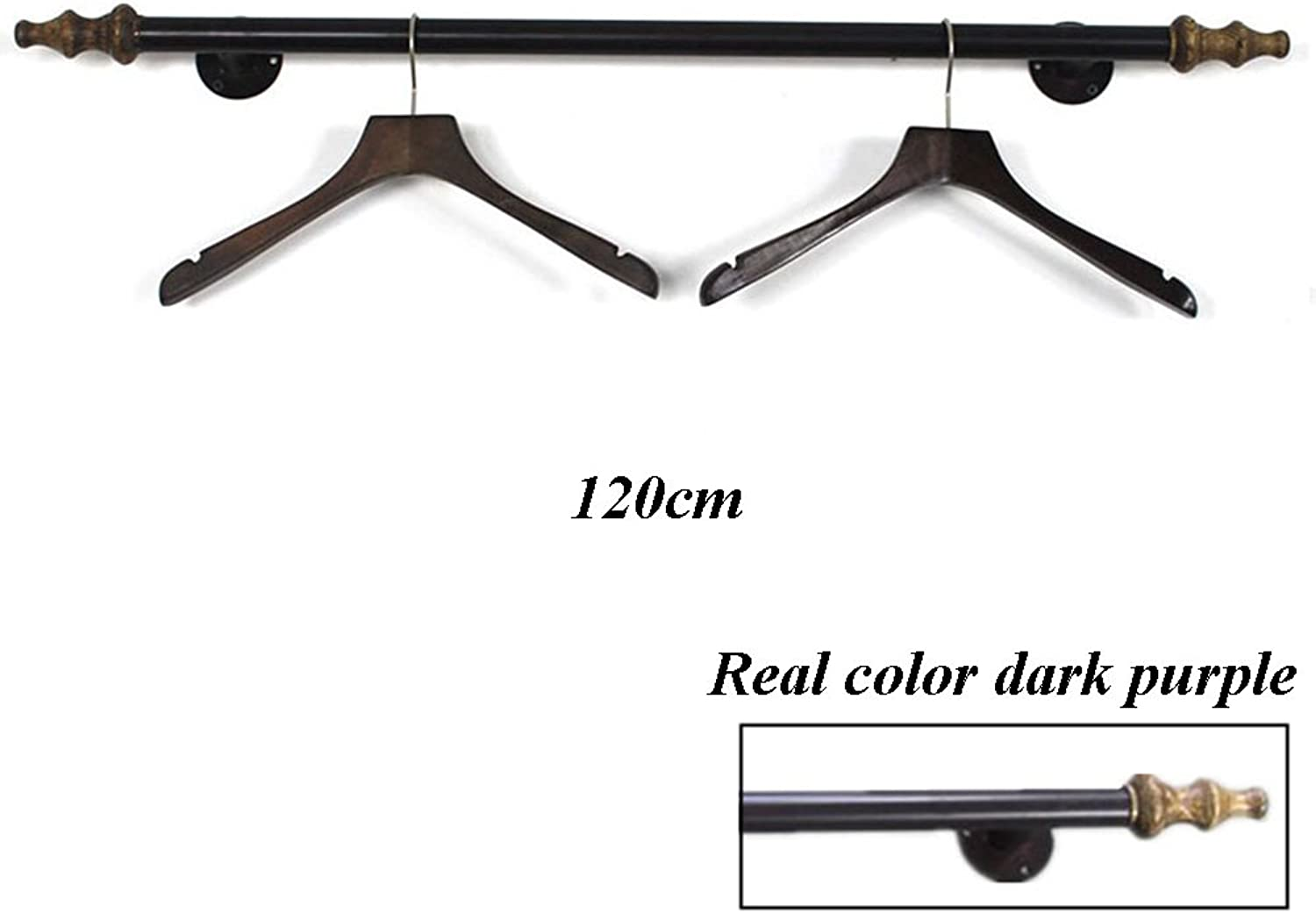 XIA Coat Rack Clothing Store Window Display Solid Wood Vintage Wall Hanging Clothing Display Rack 60cm 80cm 100cm 120cm Wood + Iron (color   A, Size   120CM)
