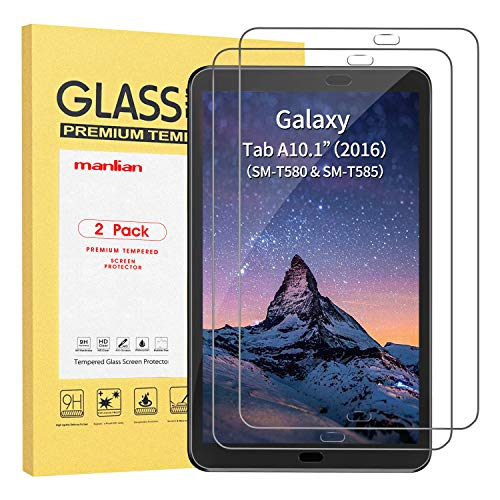 Manlian Screen Protector For Samsung Galaxy Tab A 10.1 2016, (Model: T580 / T585 / T580N / T585N / T581), (2-pack) with [Ultra-Clear] [Anti-Scratch] [Anti-Fingerprint] Premium Tempered Glass Protector