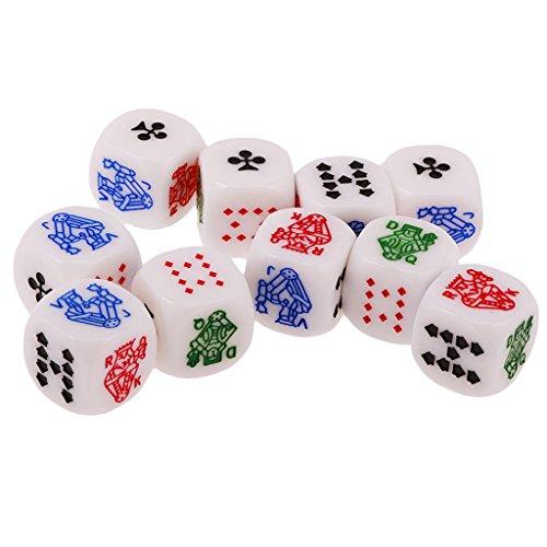 Sharplace 10 Piezas Juguetes de Mesa Juegos Dados de 12mm para Casino Poker Card