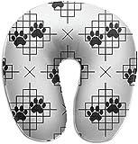 Almohada de Espuma viscoelástica para el Cuello, diseño de Huellas de Perro, con líneas en Forma de U, diseño ergonómico, Contorneado, Lavable, Funda para avión, Tren, autobús, Oficina