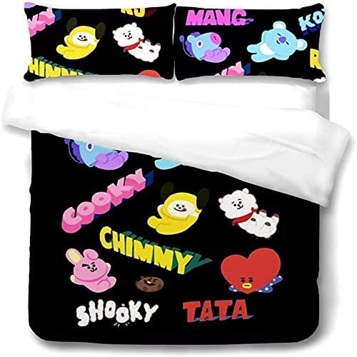 MICOLOD - Juego de cama BT21 2/3 piezas para niños, diseño de anime, 3D, funda de edredón con cremallera, funda de almohada 100% poliéster para la habitación (140 x 210 cm, 19)