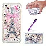 ISADENSER Case for iPhone 5S Design air Thicked Corner Strengthen & 3D Hearts Quicksand Shiny Flowing Liquid Shockproof Transparent Clear Soft Protective Case for iPhone 5 / 5S / SE Paris Tower