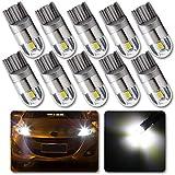 Grandview 10pcs Blanc T10 501 W5W 194 168 2825 Ampoule LED 2-3030-SMD Pour éclairage IntéRieur De La Voiture Pour Tableau De Bord Vue LatéRale Ampoule De Plaque D'Immatriculation (DC 12V)