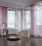 Gardinenking Sylt Fensterbehang Viora fertig genäht mit Zierstange Schiebegardine Flächengardine Schiebevorhang Flächenvorhang Stickerei (120 cm hoch / 60 cm breit/Lange Seite rechts,...