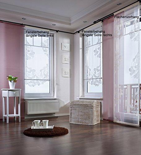 Gardinenking Sylt Fensterbehang Viora fertig genäht mit Zierstange Schiebegardine Flächengardine Schiebevorhang Flächenvorhang Stickerei (120 cm hoch / 60 cm breit/Lange Seite rechts, weiß)