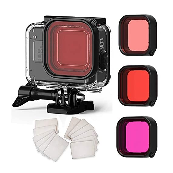 FitStill Double Lock Waterproof Housing for GoPro Hero 2018/7/6/5 Black, Protective 45m Underwater Dive Case Shell with… 1 【LIFE-TIME Warranty】 30-Day money back guarantee, LIFE-TIME Warranty and friendly 7 x 14 hours customer service. Note: Touch screen will be disable while using this Dive housing GoPro HERO 5/6 Black Waterproof Housing Case, Underwater Dive Case Shell with Bracket Accessories