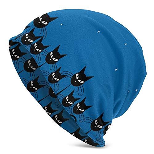 AEMAPE Multitud gráfica artística Gatos Negros estilizados Cielo Estrellado en el telón de Fondo Estilo temático Obra de Arte Beanie Cap Gorro de Punto Gorro de Calavera