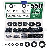 Keadic 550Pcs Flat Washers Assortment Kit Black Zinc Plated Alloy Steel, 9 Sizes - M2 M2.5 M3 M4 M5 M6 M8 M10 M12