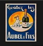PotteLove Cartel de metal vintage francés con texto en inglés 'Champagne Ad Signo de coñac'