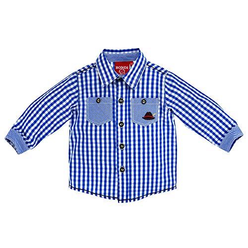 BONDI Baby-Trachtenhemd aus Baumwolle Gr. 86 I Schönes Jungen-Hemd in Blau-Weiß I Hemd Jungen, kariert, langärmlig I Kinderhemd aus Webware I Wunderschöne & Bequeme Kinderbekleidung