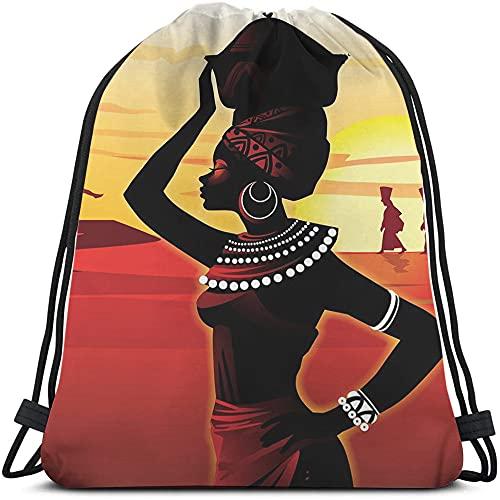 Beabes African Women Drawstring Bags Backpack Bag Oil Painting Art Beautiful Black Girl Tribal Cool Circle Big Earring Sport Gym Sack Drawstring Bag String Bag Yoga Bag for Men Women Boys Girls