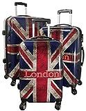 Kofferset Gepäckset Polycarbonat ABS Hartschalen Koffer 3tlg. Set Trolley Reisekoffer Reisetrolley Handgepäck Boardcase PM (UK London)