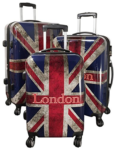 Kofferset Gepäckset Polycarbonat ABS Hartschalen Koffer 3tlg. Set Trolley Reisekoffer Reisetrolley Handgepäck Boardcase PM (UK London)