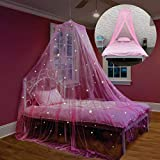Bed Canopy with Glow in The Dark Stars for Girls, Kids and Babies, Net Use to Cover The Baby Crib, Kid Bed, Girls Bed Or Full Size Bed, Fire Retardant Fabric, Pink
