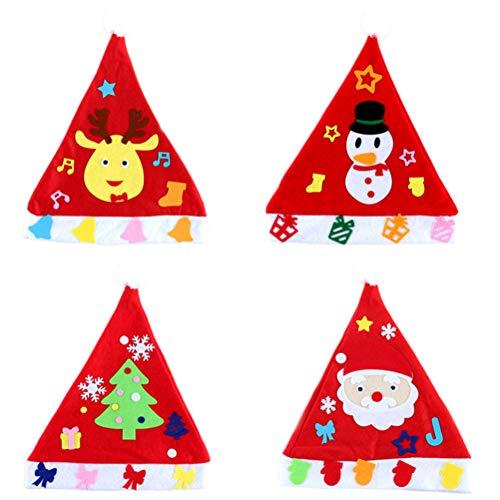 Healifty 4 Stück handgemachte Materialpaket Cartoon-Weihnachtsmütze zum Basteln DIY Party Hüte für Kinder Kindergarten (Weihnachtsmann + Elch + Baum + Schneemann)