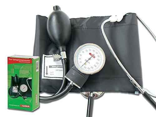 GIMA YTON Classico Sfigmomanometro Aneroide con Stetoscopio Incorporato, Bracciale in Nylon con Velcro, Regolazione Manuale, Pera Valvola Cromata