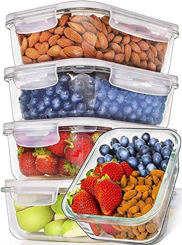 Prep Naturals Recipientes de Vidrio para Alimentos (Juego de 5 x 1064 ml) Envases de Cristal con Tapas Herméticas para la Cocina | Contenedores para Horno, Microondas, Congelador y Lavavajillas