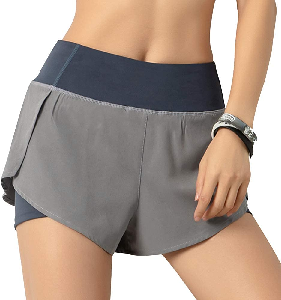 Hopgo Running Shorts for Women Yoga Gym High Waisted Quick-Dry Sports Athletic Workout Shorts with Pocket