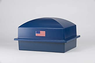 Crowne Vault Burial Urn Vault | Holds One Cremation Urn for Human Ashes | Regent | Navy with American Flag