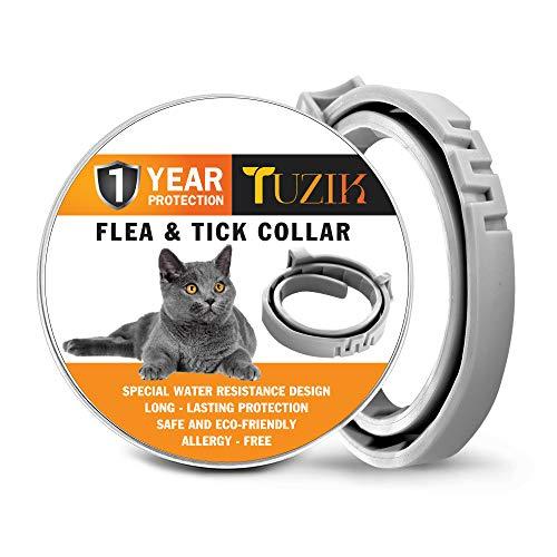 TUZIK Tratamiento de pulgas y garrapatas para gatos – Prevención de pulgas y garrapatas para gatos – Protección contra pulgas 12 meses para gatos – Impermeable, ajustable