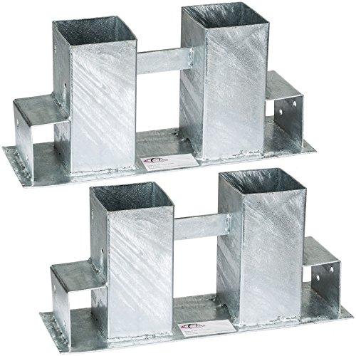 TecTake Stapelhilfe für Kaminholz Brennholz Holzstapelhilfe | feuerverzinkter Stahl | variabel anwendbar - Diverse Mengen- (2er Set | Nr. 402370)