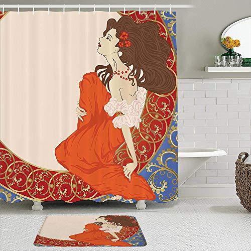 FOURFOOL Cortinas con Ganchos,Mujer Antigua en un Antiguo Vestido Medieval Floral Rico,Decoraciones de Cortinas de Ducha Alfombra de Baño Moderno