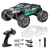 FLYHAL Q901 Pro Remote Control Car Brushless RC Car 62km/h 4WD 1:16 Scale High Speed RC Car for Adults and Kids Off-Road Truck with LED Front Lights Transparent DIY Car Shell Green(2 batteries)