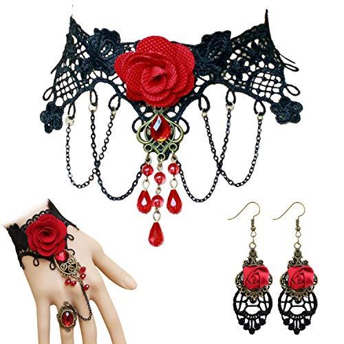 Merclix 3 Stück Gothic Schmuck Vampir Kostüm Damen, Choker Ohrringe Armband Set, Hochzeit Fasching Halloween Steampunk Schmuck Accessoires Damen (Gothic 3)