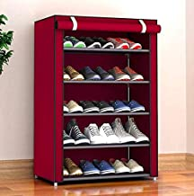 PARASNATH Mild Steel Red Cloth 5-6 Shelves Shoe Rack/Shoe Stand Made in India(Limited Time Offer)