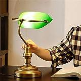 Cohleb Original Design Mode Banker Lampe Retro Tischlampe Schlafzimmer Nachttischlampe Holz Metall Glas [Energieeffizienzklasse A +++] - Zugschalter